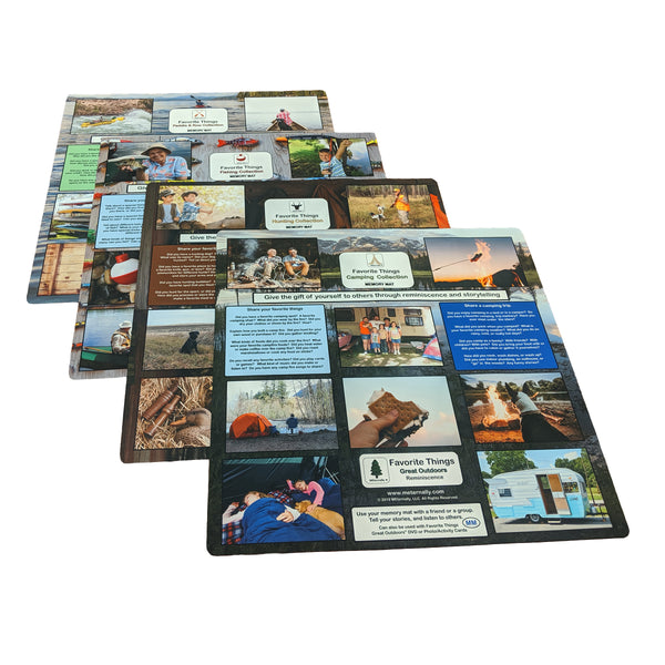 Great Outdoors Reminiscence Therapy Kit - Photo/Activity Card Kit with Four 24 x 24 Mega Memory Mats in Clear Backpack