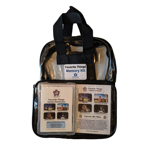 Library/Facility BACKPACK - Reminiscence Therapy - Patriotic DVD & Photo/Activity Cards Kit