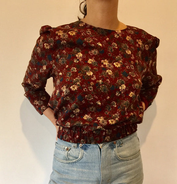 Deep red floral blouse