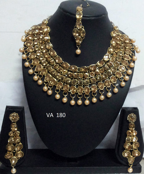 Bridal Bronze Stonework and Pearl Set - Shikifashion