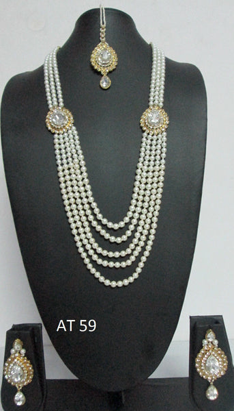 Bridal White Pearl Strand Set - Shikifashion