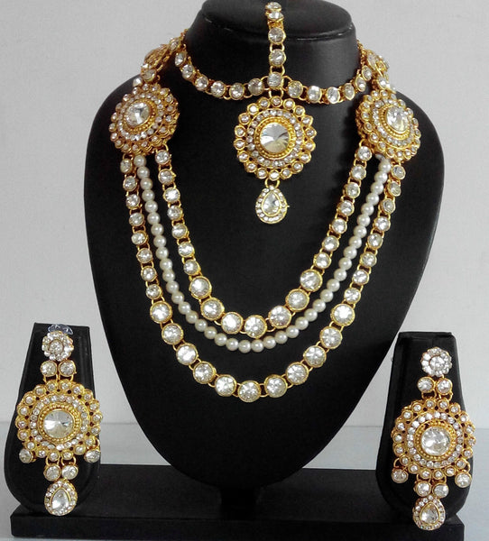 Bridal Long Gold Crystal and Pearl Set - Shikifashion