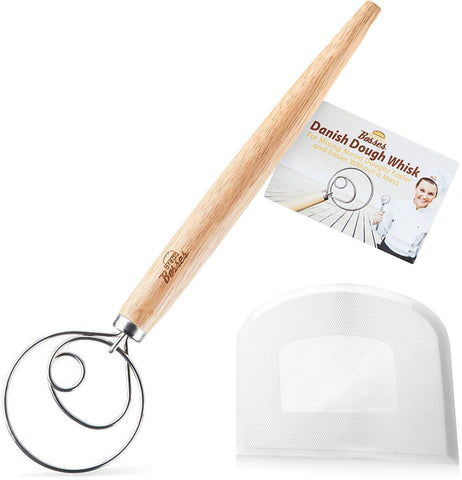 Image of Danish Dough Whisk Set (White Scraper)