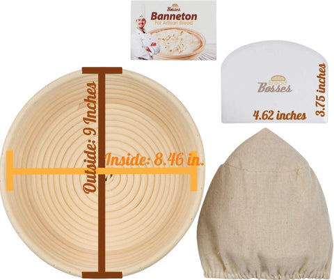Image of 9 inch Round Banneton Proofing Basket Set (White Scraper)
