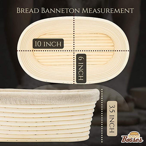 Image of 10 inch Oval Banneton Proofing Basket Set (White Scraper)