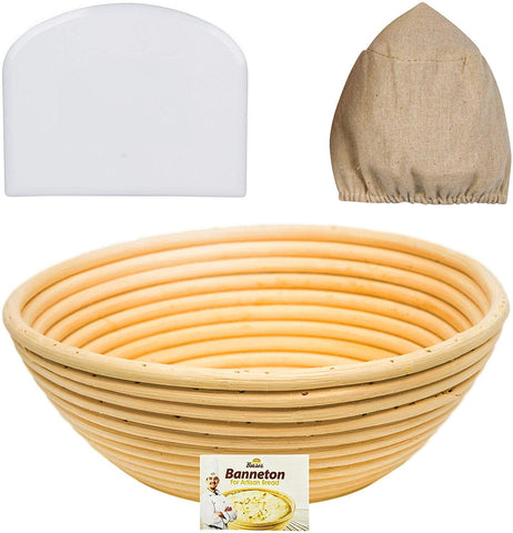 9 inch Round Banneton Proofing Basket Set (White Scraper)