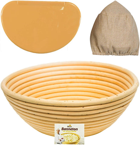 Image of 9 inch Round Banneton Proofing Basket Set (Orange Scraper)