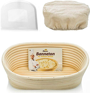 10 inch Oval Banneton Proofing Basket Set (White Scraper)
