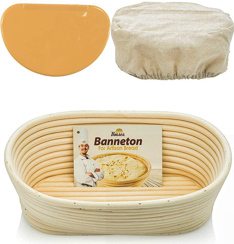 10 Inch Oval Banneton Proofing Basket (Orange Scraper)