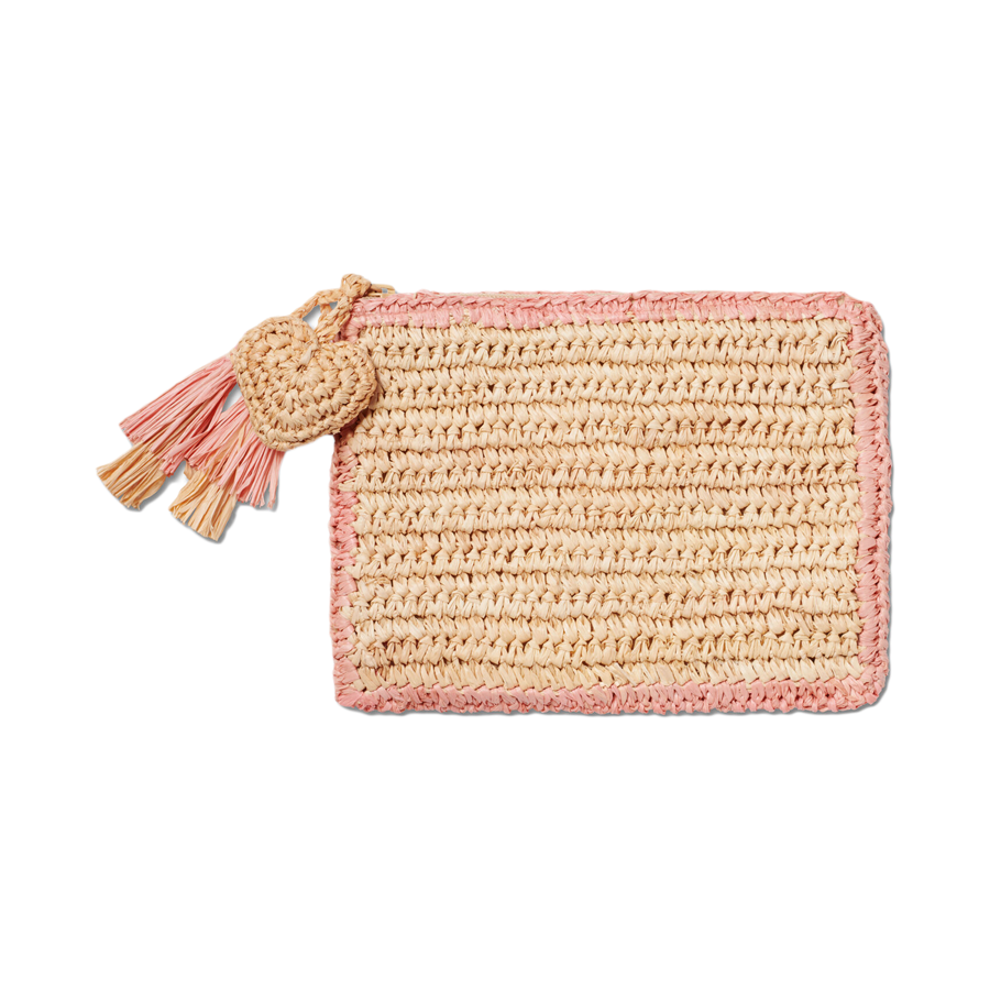 Trimmed Raffia Pouch - Pink/Medium