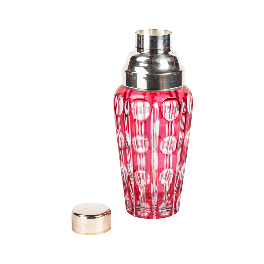 Pink Cut Crystal Cocktail Shaker