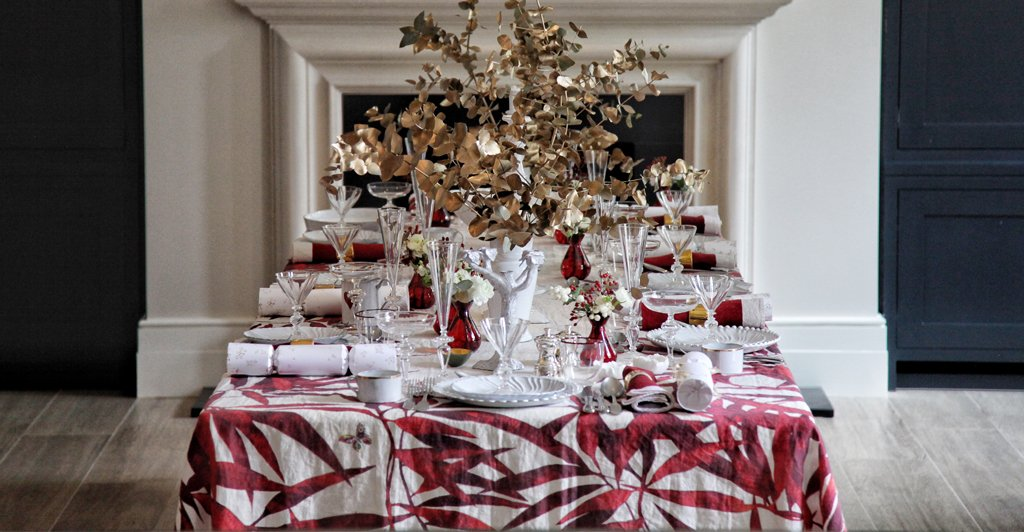 Les Palmiers Red Linen Tablecloth by Summerill & Bishop