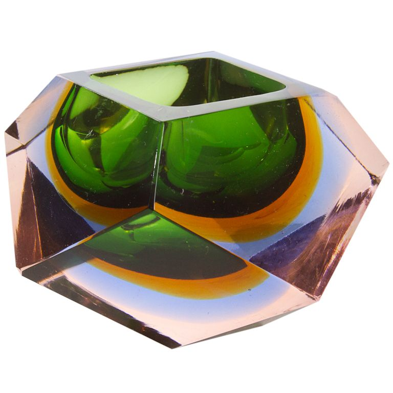 Vintage Faceted Glass Dish in Smoked Green,Amber and Clear