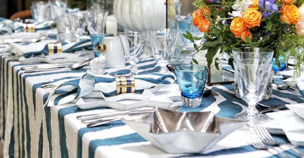 Zebra Linen in Petrol Blue Tablecloth by Summerill & Bishop