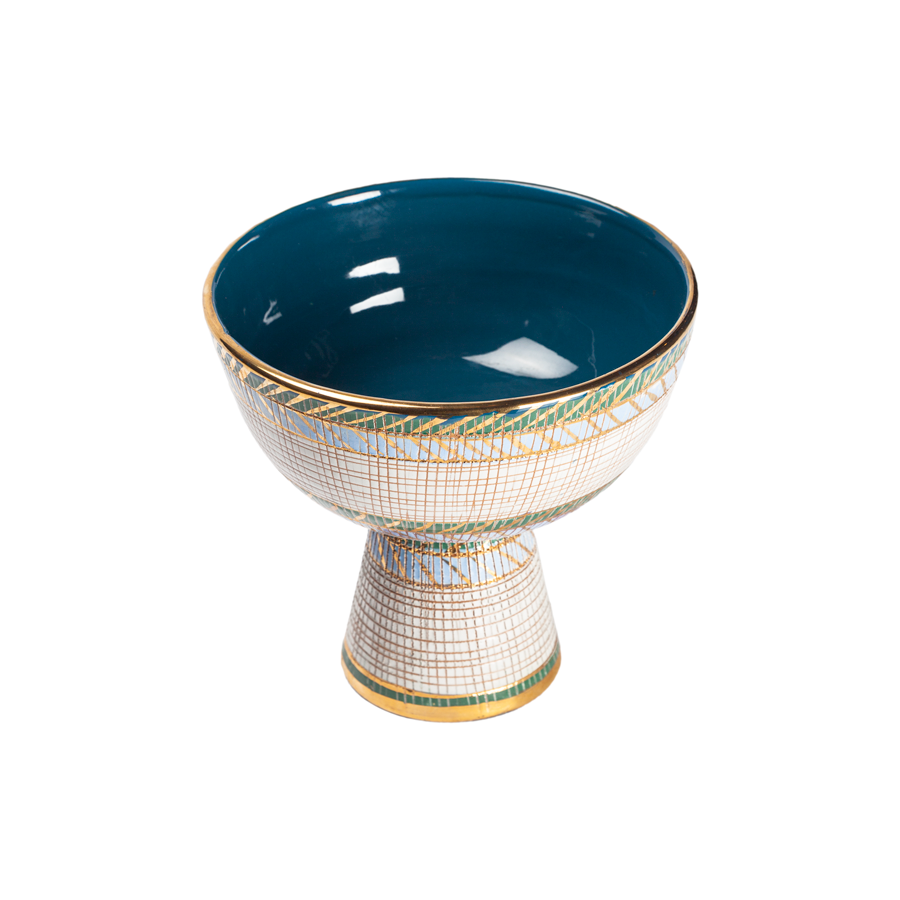 Aldo Londi Bitossi Blue, Green, Teal and Gold Seta Pedestal Compote