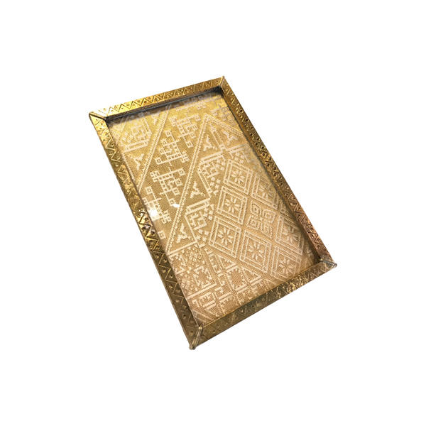 Hammered Brass Tray with Vintage Moroccan Fabric