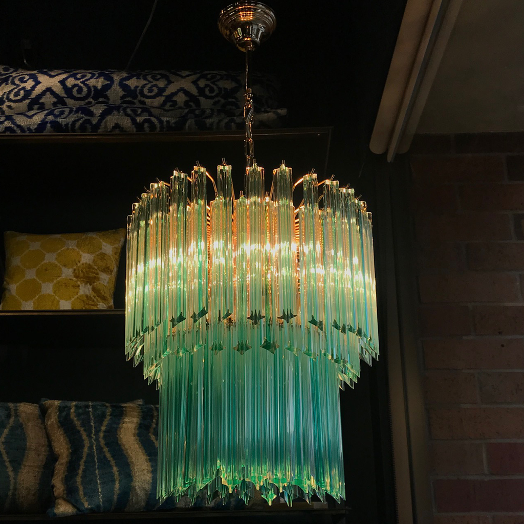 Vintage Aquamarine and Brass Chandelier