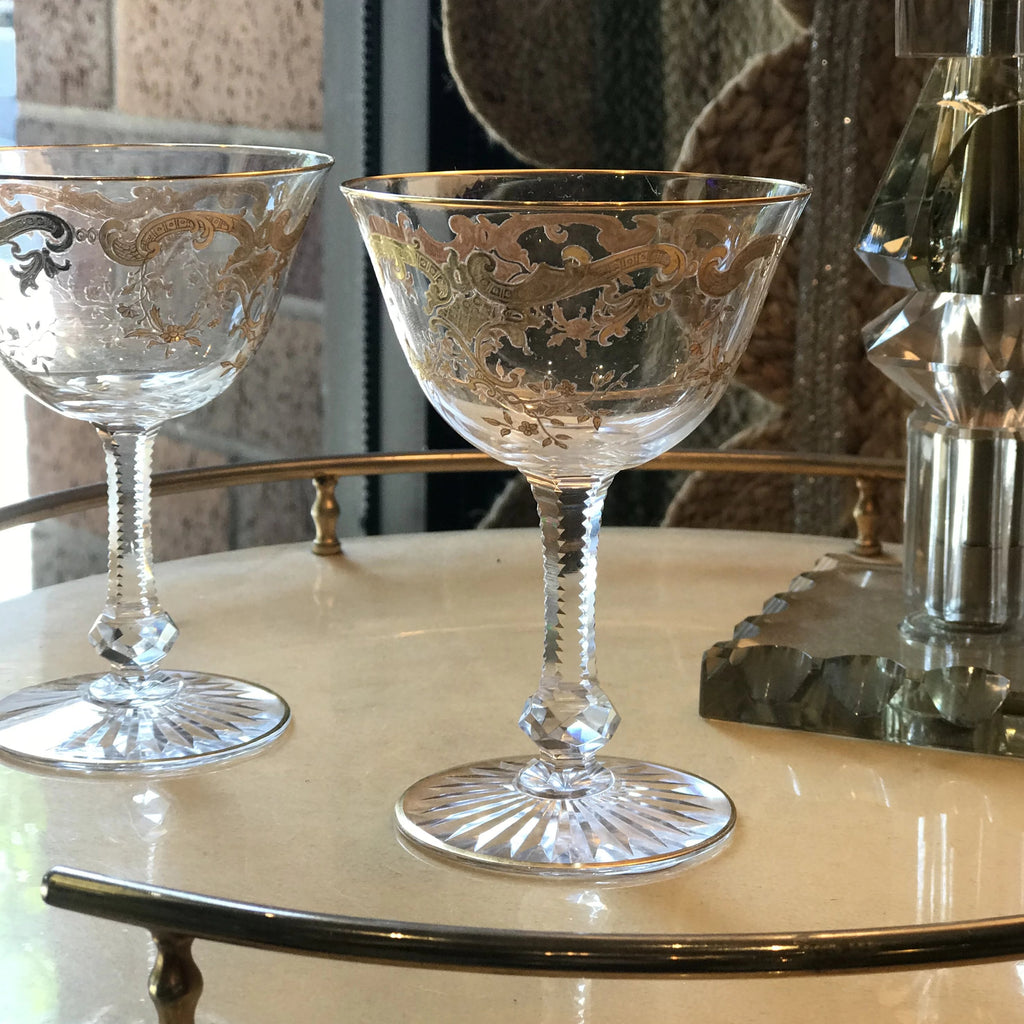 Gold Filigree Crystal Coupes - Set of 10