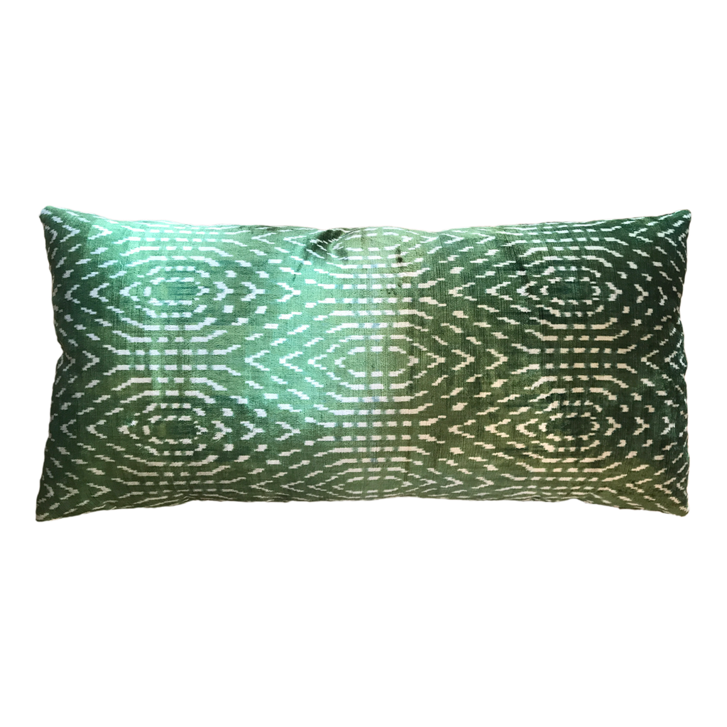 Vintage Silk Velvet Ikat Pillow - Large Rectangle Dots Bright Green/Silver