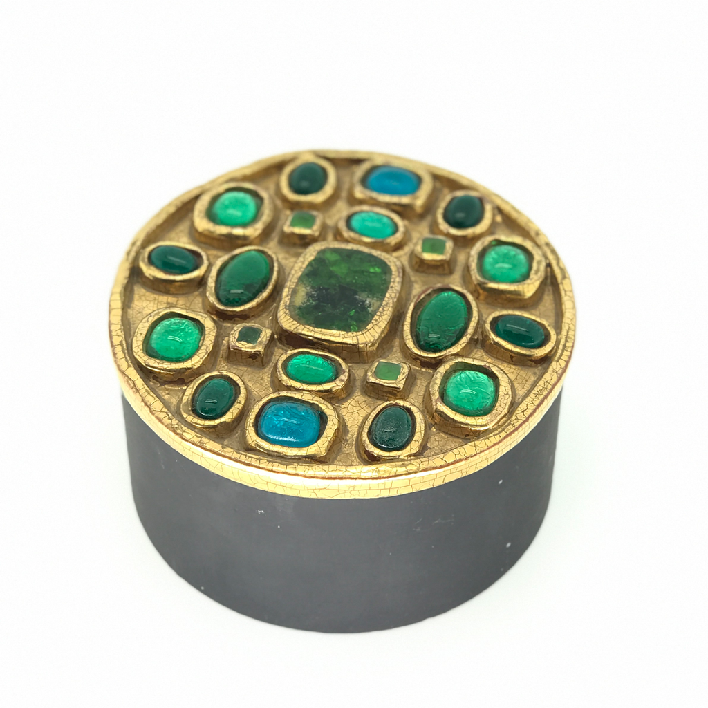Francois Lembo Gold, Green and  Blue Stone Round Box