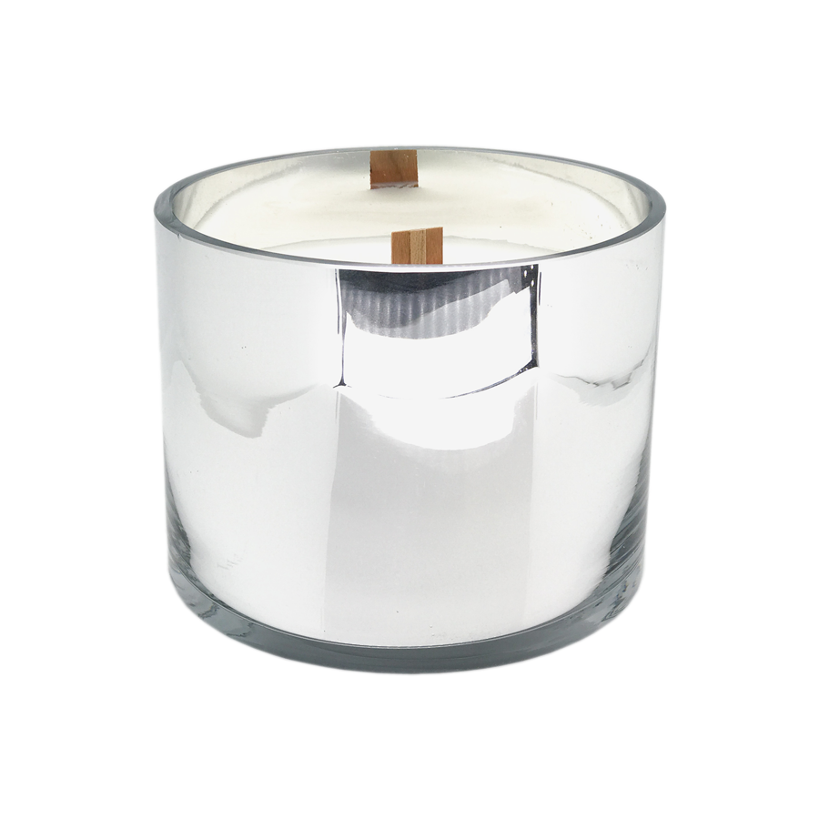 Wide Wick Candle Silver Mercury Vessel