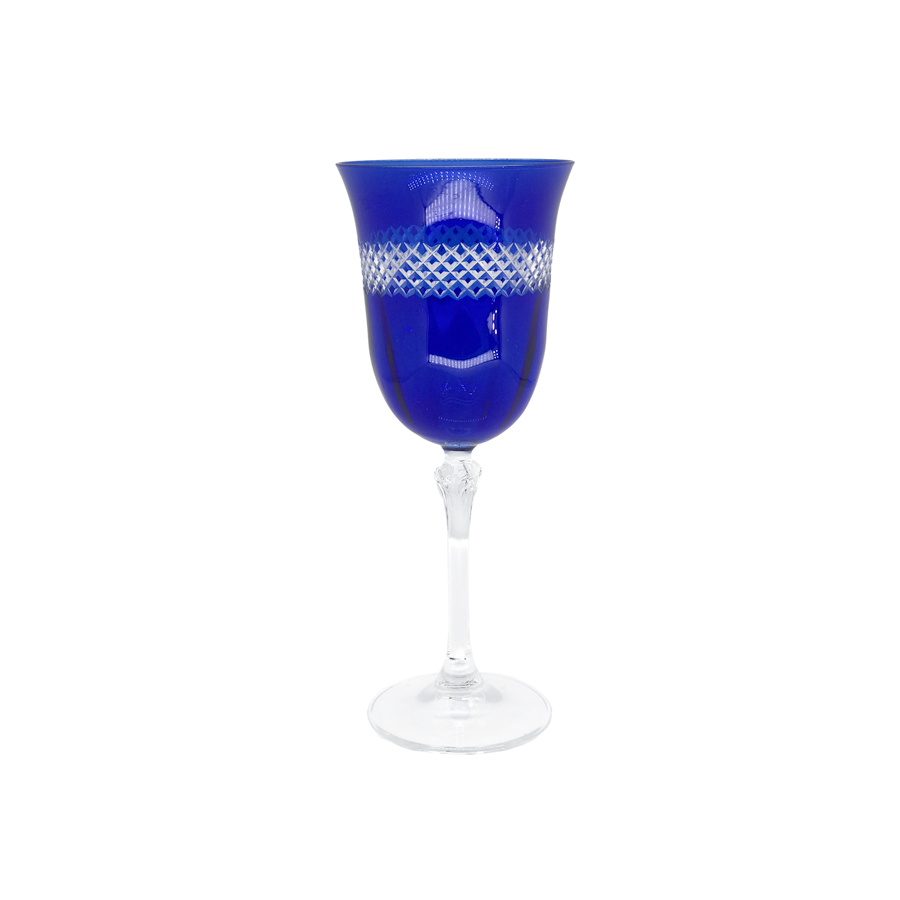 Cobalt Blue Crystal Wine Glasses - Set of 6