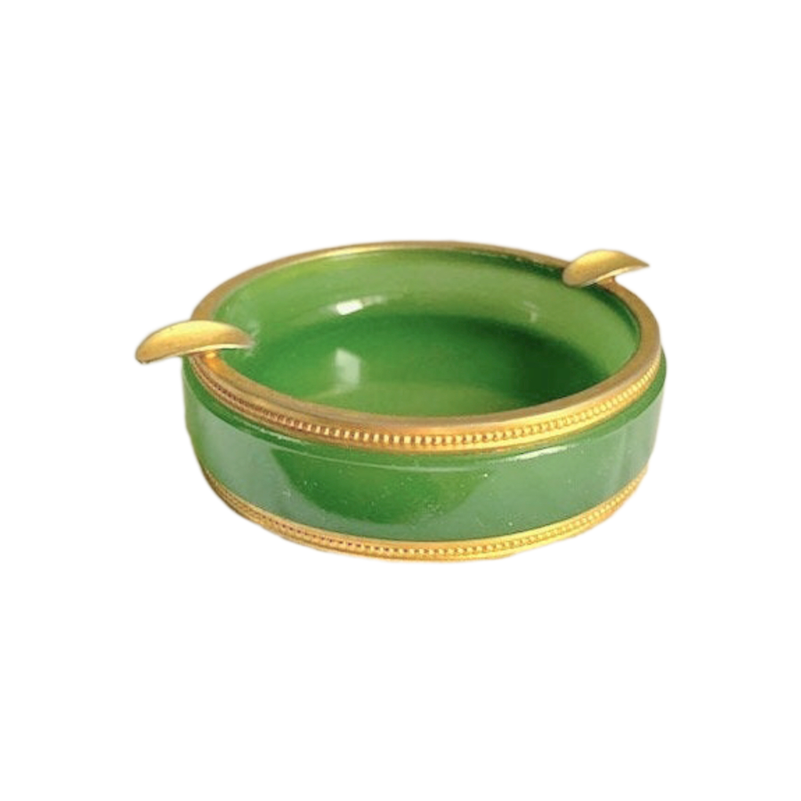 Vintage Green French Opaline Round Ashtray with Brass Trim