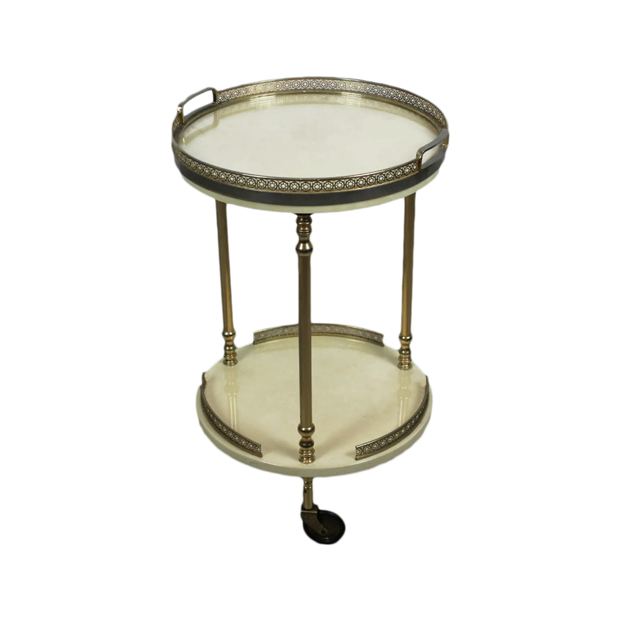 Aldo Tura Vintage Ivory Small Bar Cart