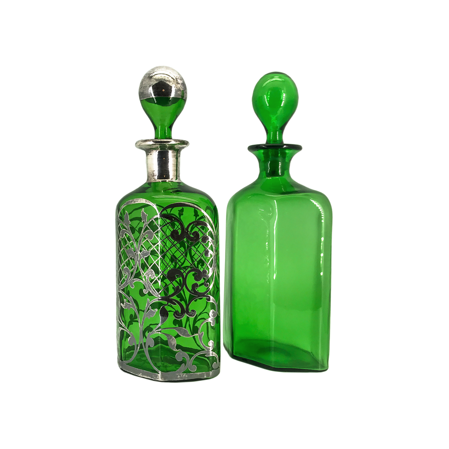 Emerald Green Decanters - Set of 2