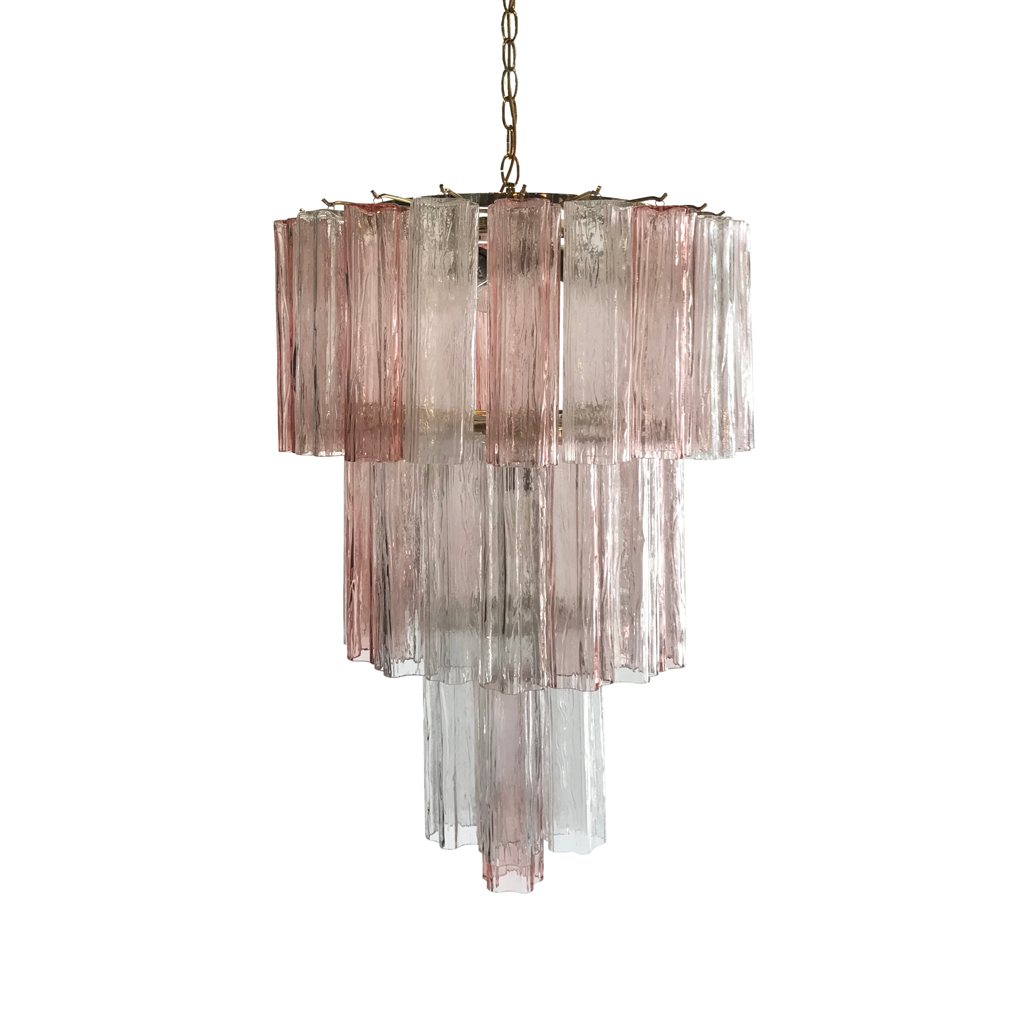1960s Venini Pink and Clear Chandelier