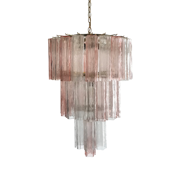 Vintage Pink and Clear Venini Chandelier