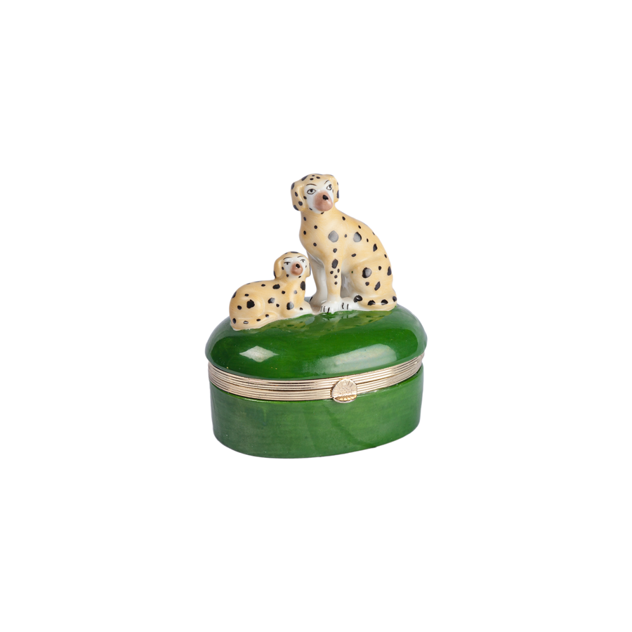Hand Painted Porcelain Dogs Trinket Box