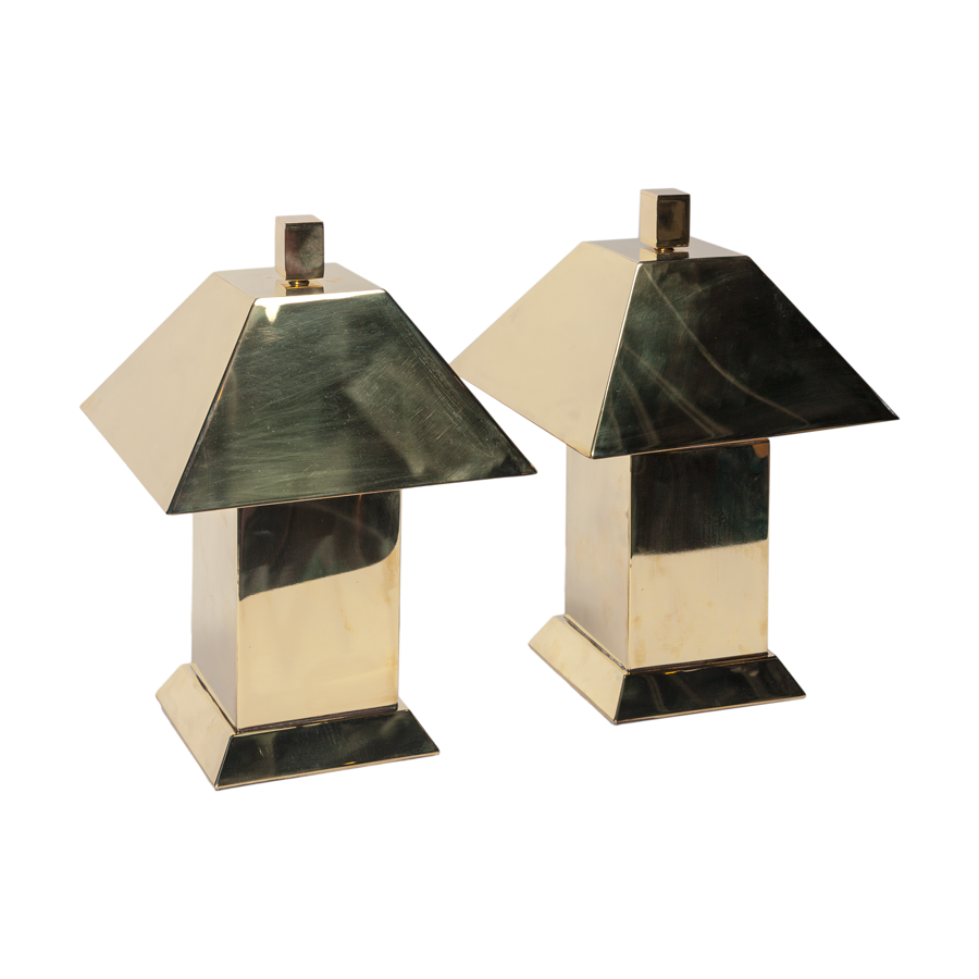 Brass Block Table Lamps Set of 2