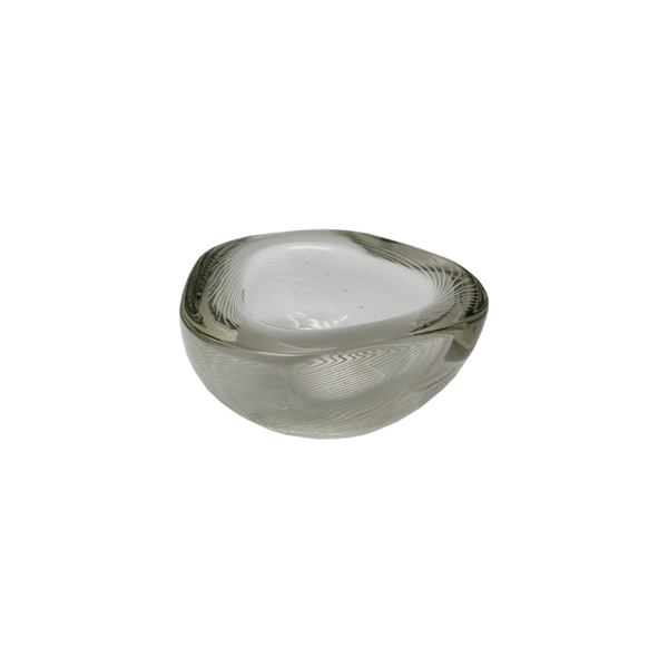 Clear and White Cast Murano Swirl Bowl - 1970s