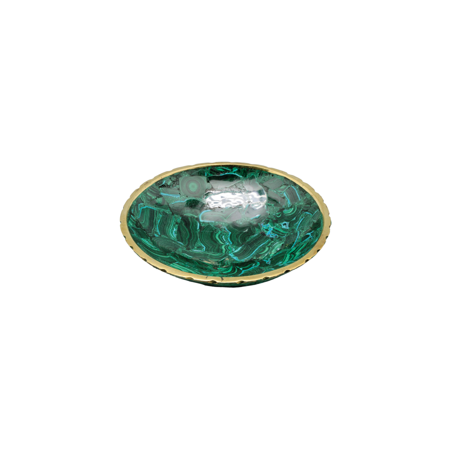 Round Malachite Bowl with Brass Trim