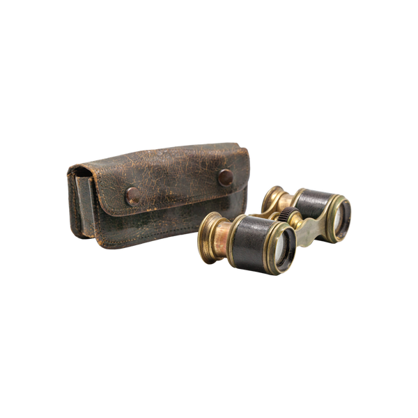 Vintage Brass and Leather Pocket Binoculars