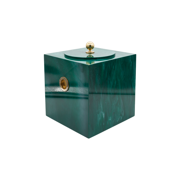Vintage Lucite Faux Malachite Ice Bucket