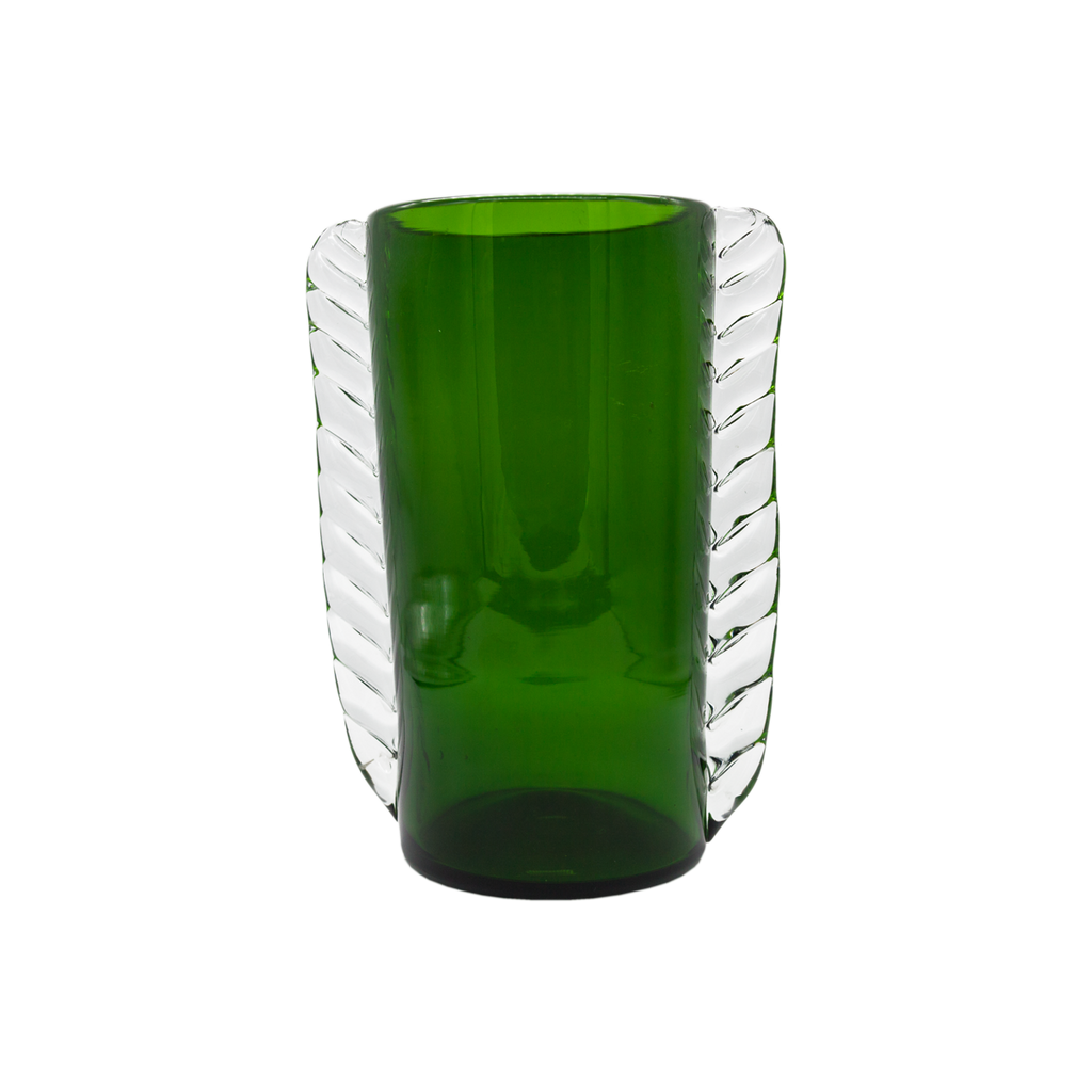 Emerald Green and Clear Murano Vase