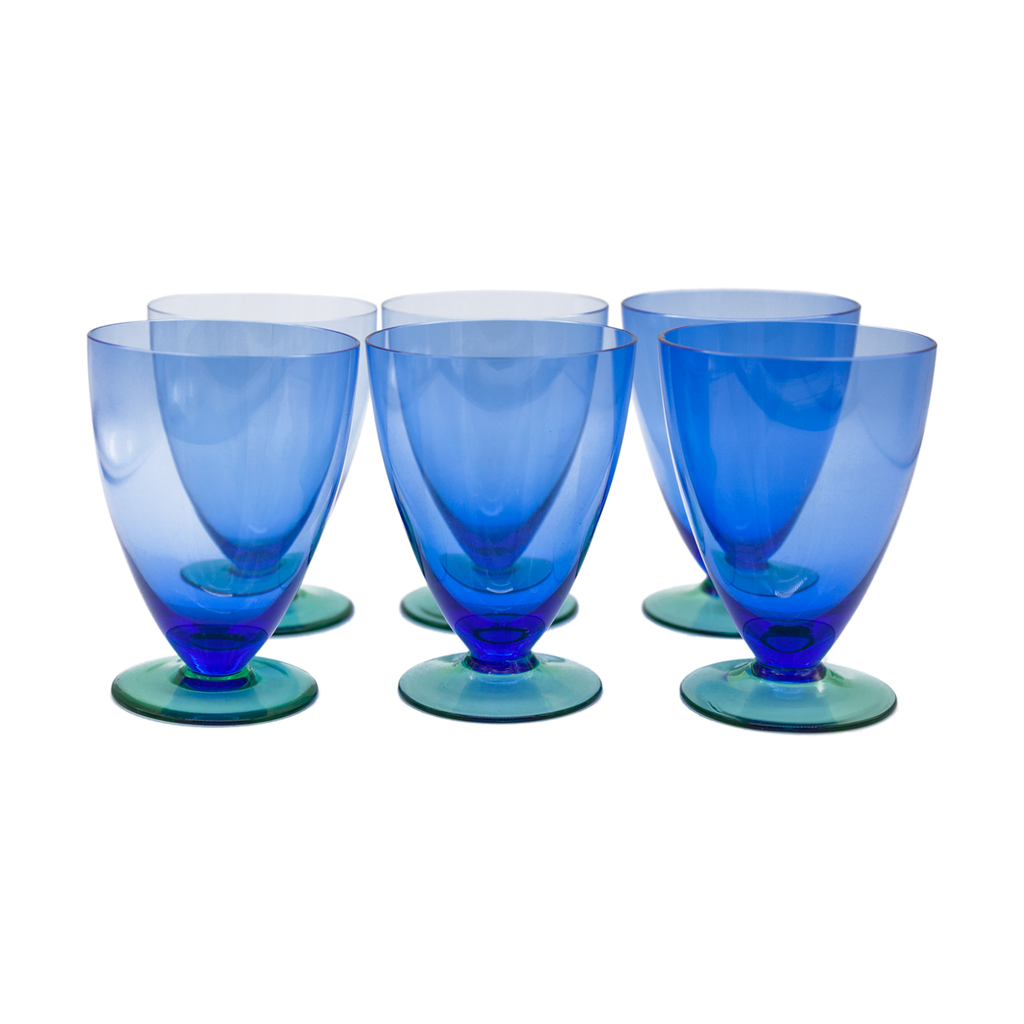 Blue and Green Pedestal Glasses - Set of 6