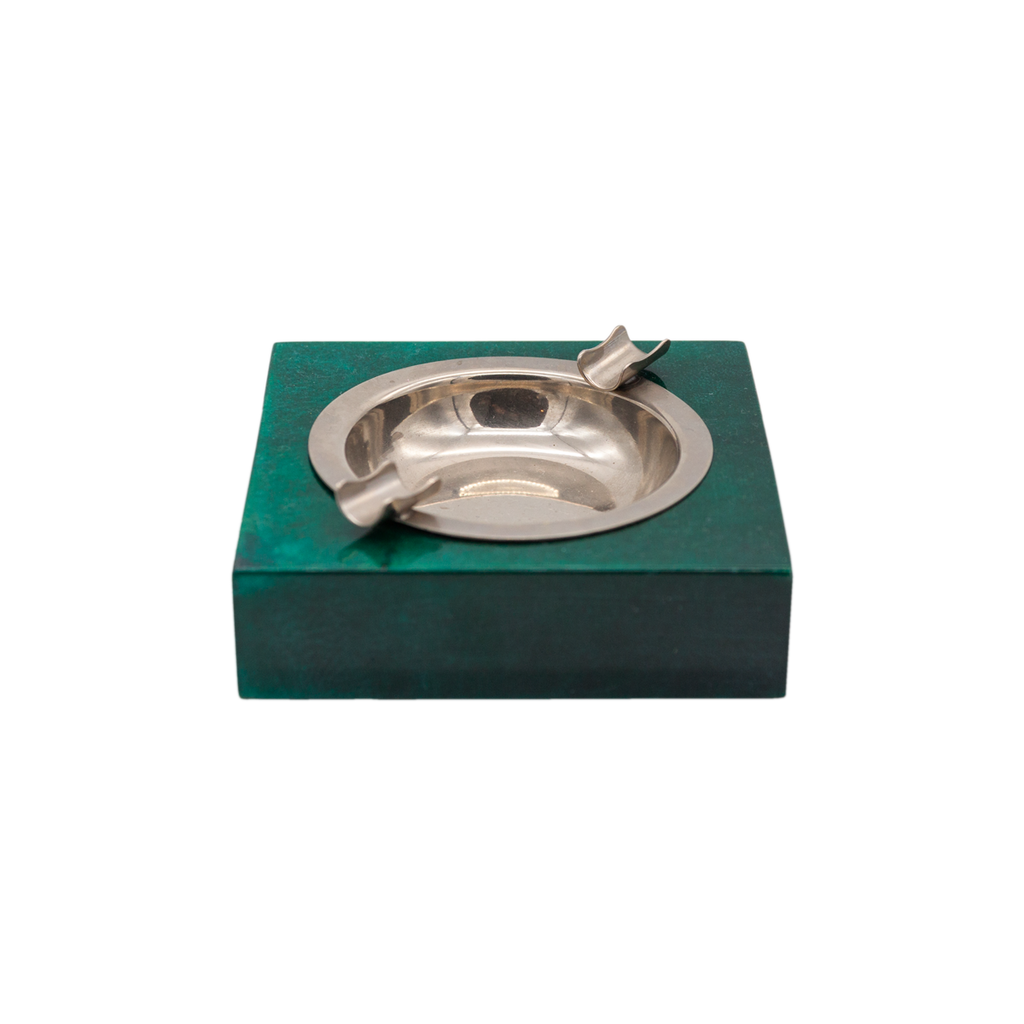 Aldo Tura Green and Silver Ashtray