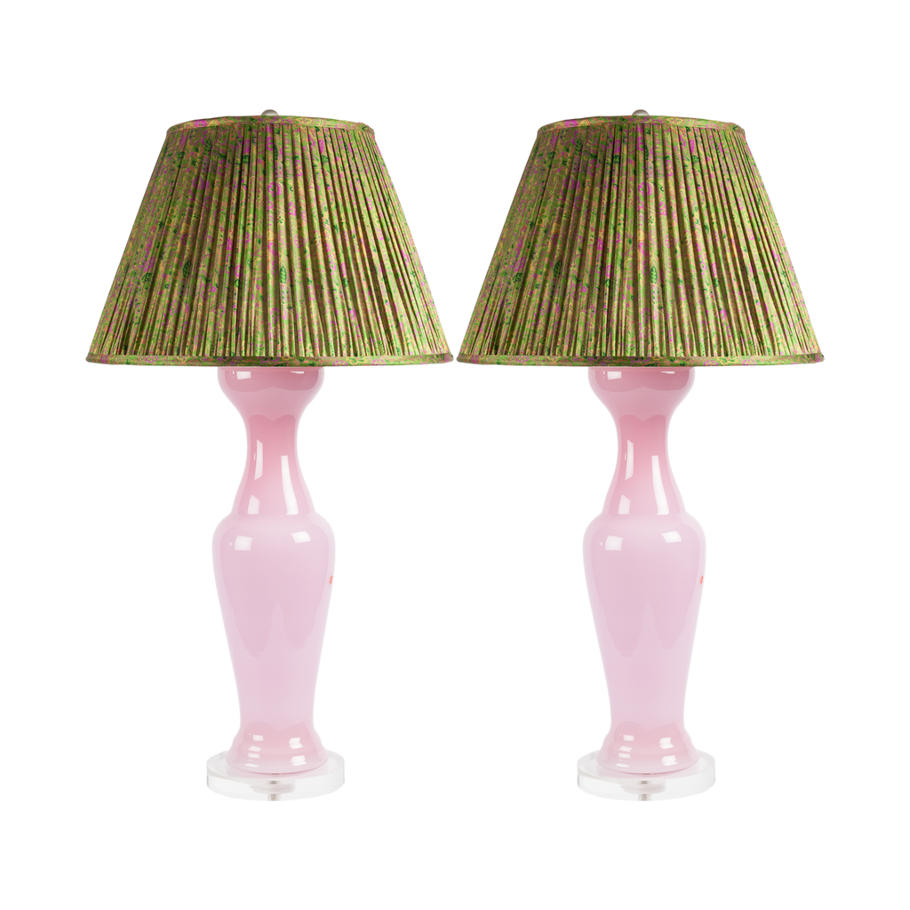 Pink Opaline Lamps (Set of 2)