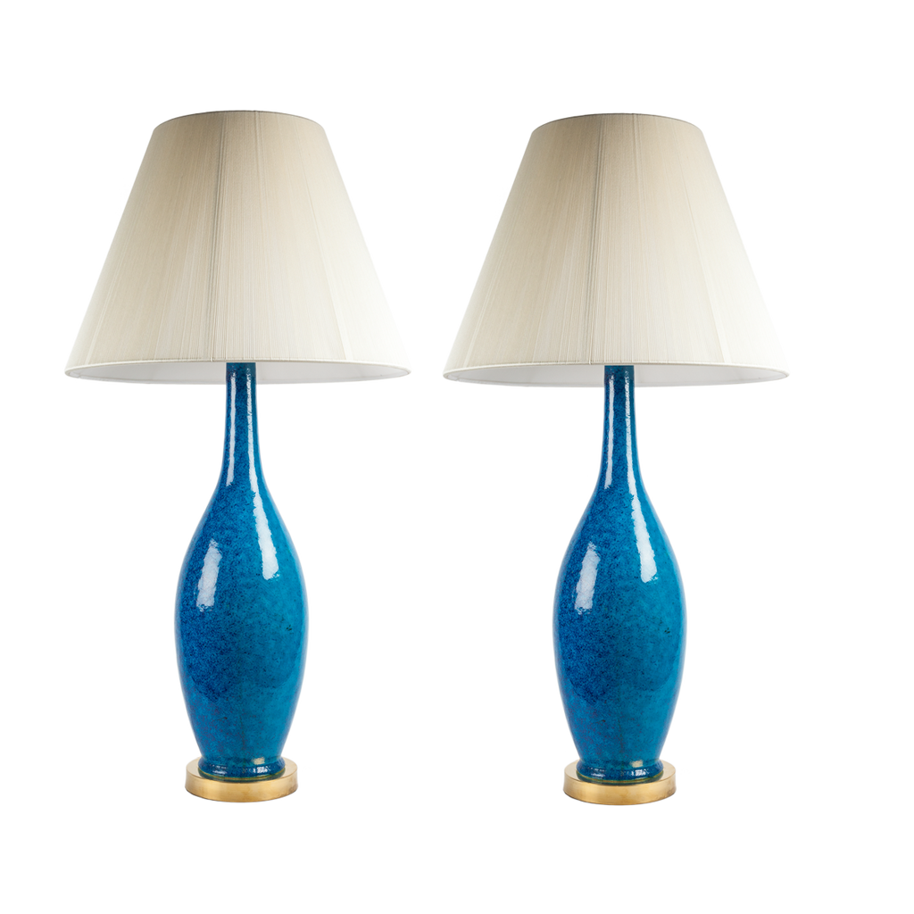 Midcentury Blue Ceramic Lamp