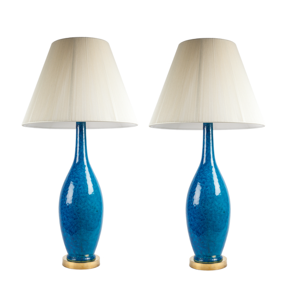 Midcentury Blue Ceramic Lamps (Set of 2)