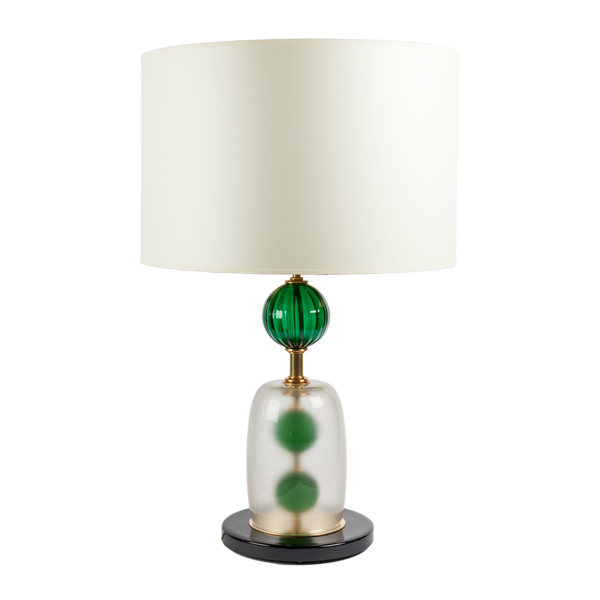 Murano Green Glass and Frosted Dome Lamps - Set of 2