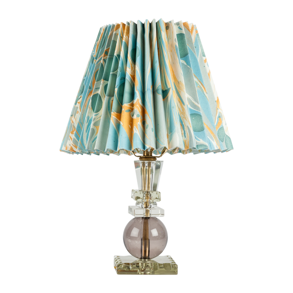 Vintage Crystal Table Lamp with Pleated Paper Shade