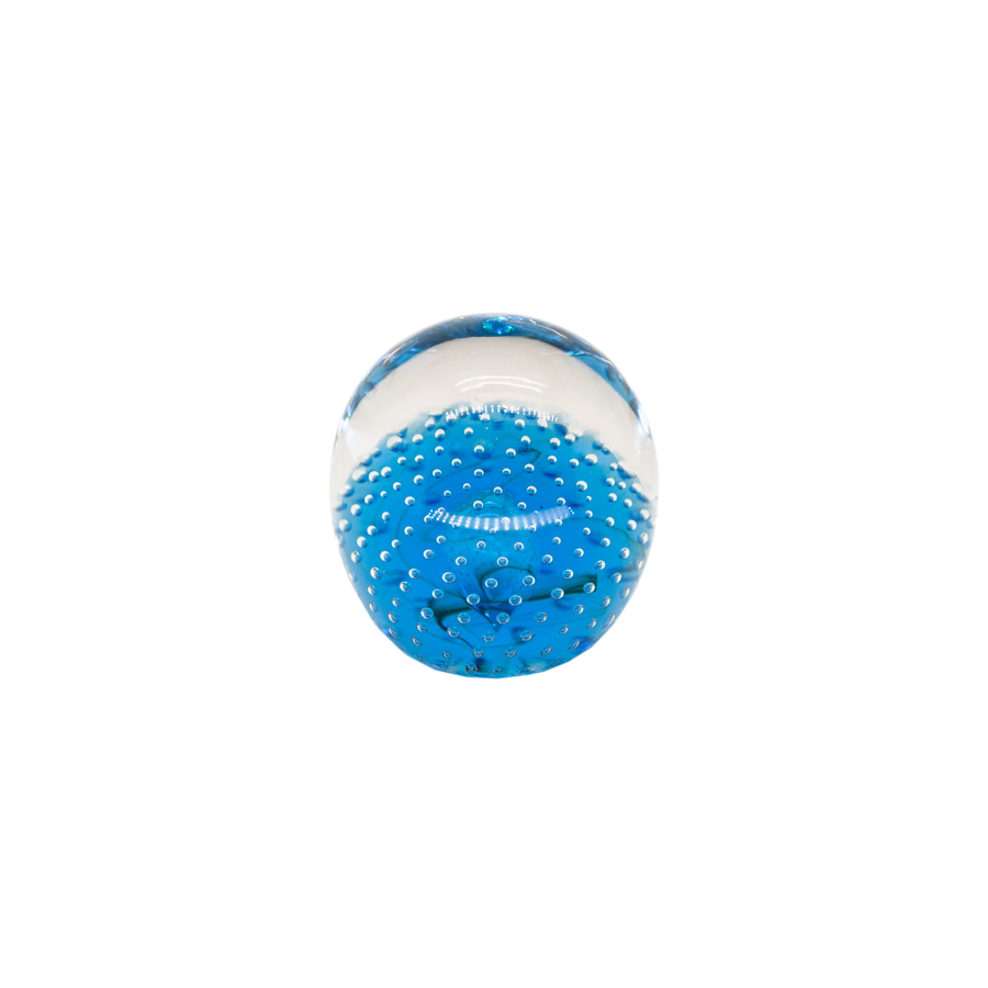 Cobalt Blue Bubble Controlled Murano Glass Paperweight