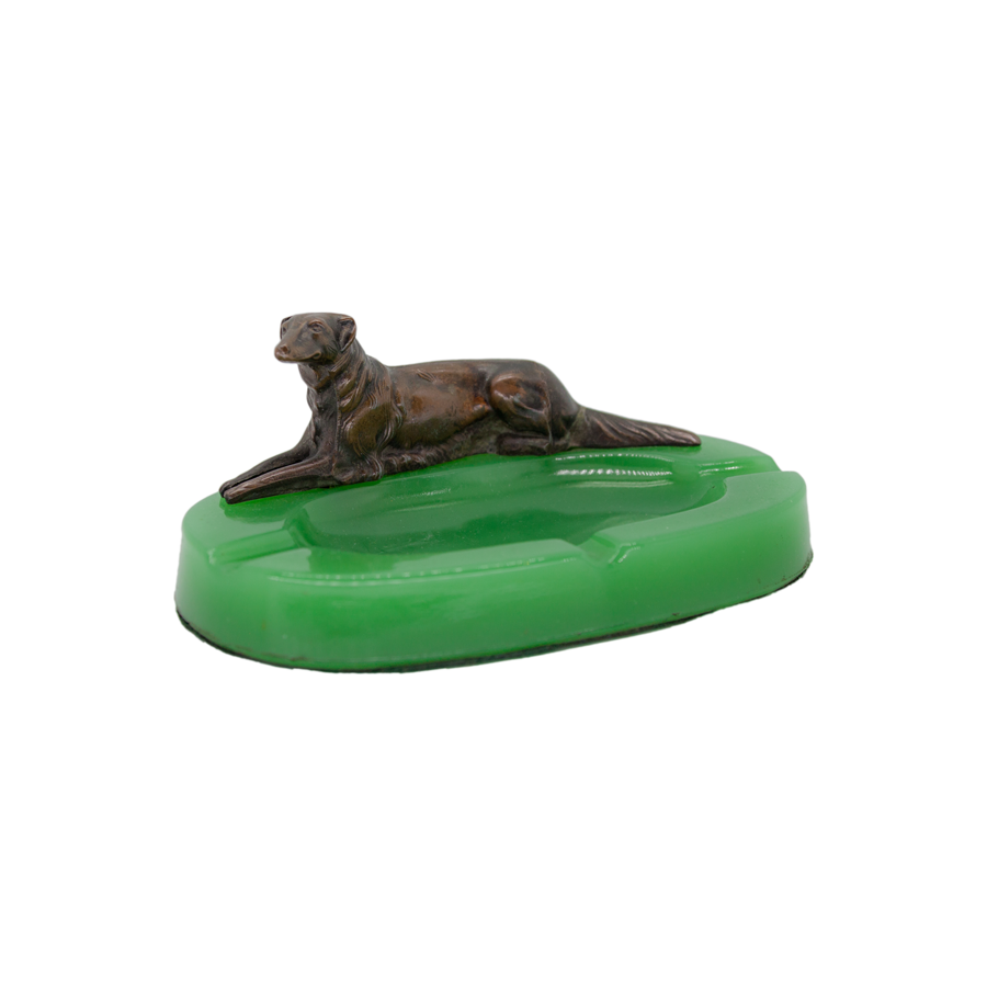 Vintage Green Milk Glass Dog Ashtray