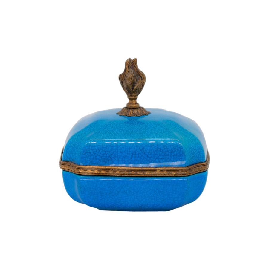 Blue and Brass Sevres Votive Box