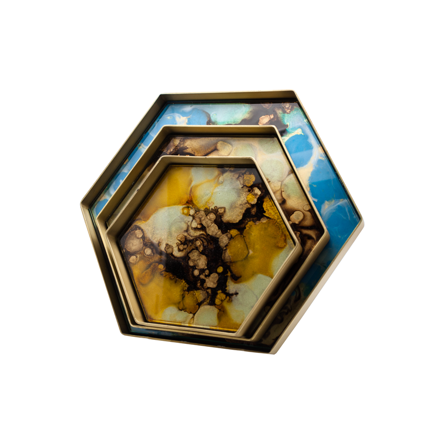 Organic Glass Hexagonal Tray with Gilt Brass Rim