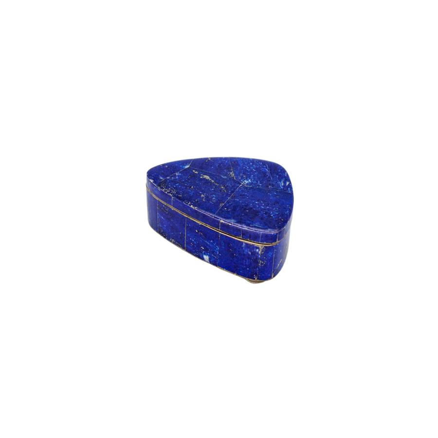 Lapis Lazuli and Silver Hinged Box - Vintage
